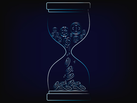 hourglass with gearwheel mechanism producting profits automatically through time, concept of passive income (vector illustration with neon effect on mesh background)