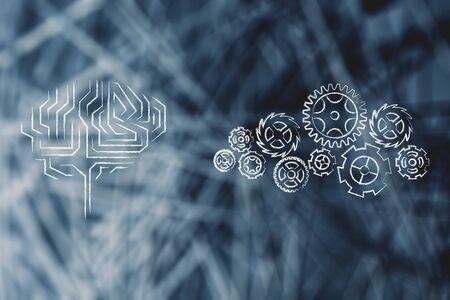 rackwheel: electronic brain next to complex gearwheel mechanism, concept of processing ideas