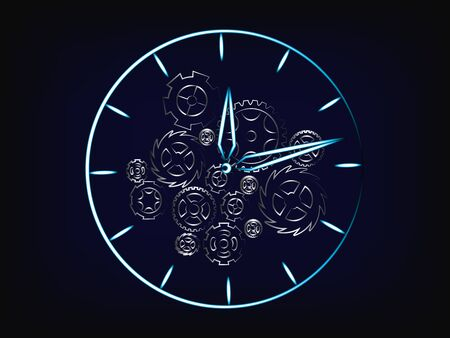 clock vector with gearwheels and cogwheels mechanism inside (illustration with neon effect on mesh background)