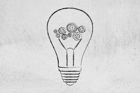 rackwheel: complex gearwheels mechanism inside lightbulb, concept of elaborating ideas and being inventive