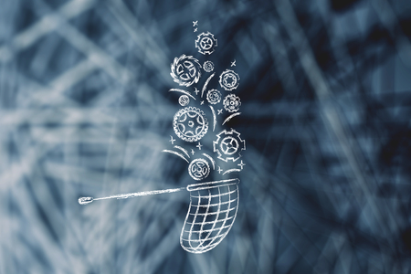 butterfly net catching gearwheels, concept of collecting clients requests on customization needs for a product