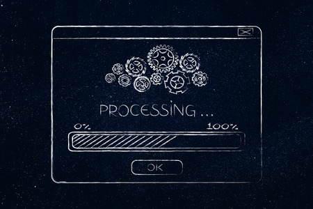 pop-up window with progress bar loading and gearwheel mechanism icons Stock Photo