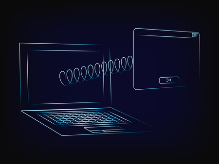 laptop with pop-up window popping out of the screen with a spring, with copyspace to add text (vector illustration with neon effect on mesh background) Illustration