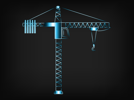 manmade: tower crane vector illustration with glowing neon light streak effect on mesh background