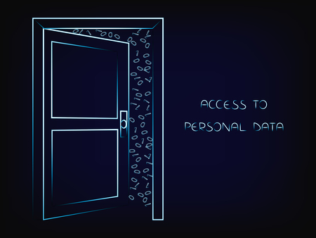 open door with text Personal Data on and messy binary code behind it, internet security vector illustration on mesh background
