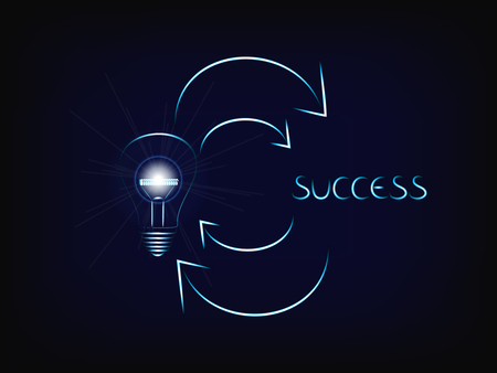 from a brilliant idea (lightbulb with flare) to success and again (vector illustration with neon effect on mesh background)