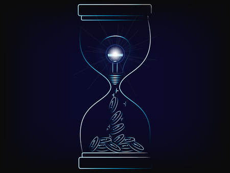 hourglass with brilliant idea turning into profits, with lightbulb and flare (vector illustration with neon effect on mesh background)