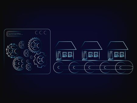 accomodation: house production line factory machine with gearwheel mechanism (vector illustration with neon effect on mesh background)