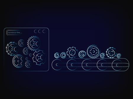 tandwielen productielijn fabrieksmachine (vectorillustratie met neon effect op gaas achtergrond)