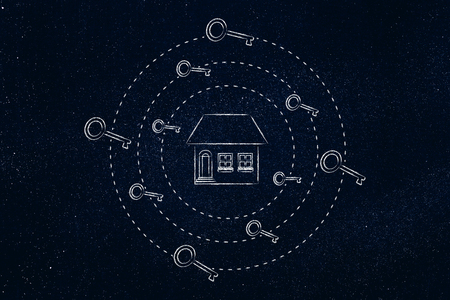 homebuyer: house surrounded by spinning keys, concept of real estate purchase or rent transactions
