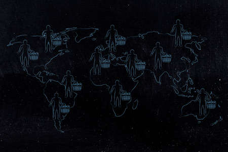 world map with customers and full shopping carts worldwide, concept of global marketing