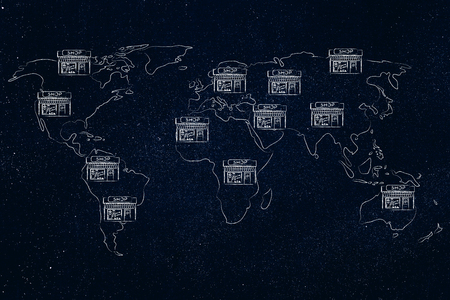 shops all over a map of the world, concept of globalized chains of stores