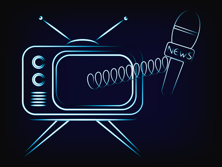 tv with news microphone popping out of the screen, vector illustration with neon effect (mesh background)