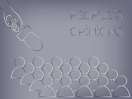 マイクは上、人の意見を分析やフィードバックを求めるの概念からの人々 のグループで指摘