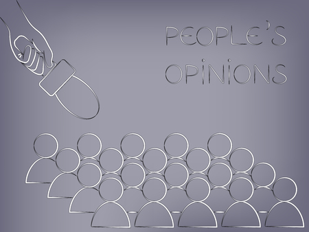 opinions: microphone pointed at a group of people from above, concept of analysing peoples opinions or asking for feedback Illustration