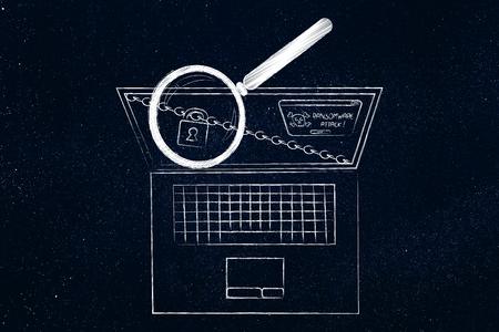 laptop met slot en ketting en ransomware waarschuwing op het scherm wordt geanalyseerd door vergrootglas Stockfoto