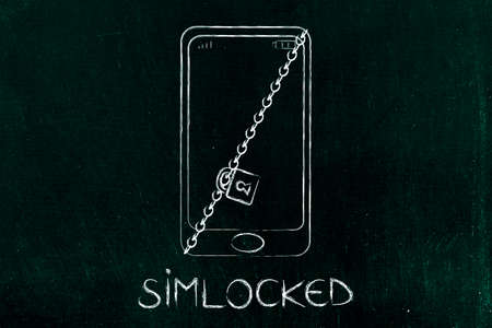 smartphone with lock and chain, concept of simlocked device Фото со стока