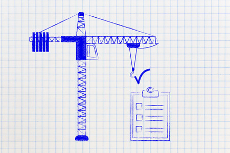 requiring: tower crane installing a Tick sign over a To Do List, conceptual illustration about achieving difficult tasks requiring a lot of effort Stock Photo