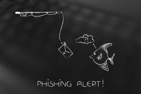 Caña de pescar con carnada de correo electrónico que se acerca a peces dudosos, concepto de ataques de phishing y malware para engañar a los usuarios a fin de que den su información de inicio de sesión o datos privados Foto de archivo - 79279819