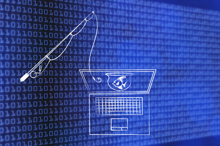 connecting rod: fishing rod approaching laptop screen with fish in a bowl inside, concept of phishing and malware attacks to trick users into giving away their login information or private data