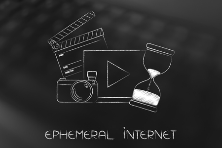 ephemeral internet concept: video with camera and ciak next to hourglass counting time running out