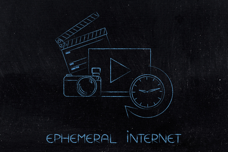 ephemeral: ephemeral internet concept: video with camera and ciak next to clock counting time running out