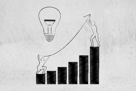 men setting up an arrow up a business growth graph next to lightbulb, concept of taking good entrepreneurial decisions and fixing a company situation Stock Photo