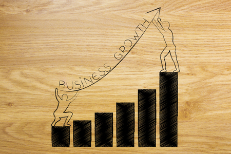 men setting up an arrow up a business growth graph with text, concept of taking good entrepreneurial decisions and fixing a company situation