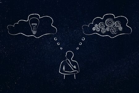 man with thought bubbles with lightbulb and gearwheel mechanism, concept of analysing new ideas deeply