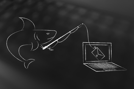 shark with fishing rod with email instead of bait falling into laptop screeen, concept of phishing and malware attacks to trick users into giving away their login information or private data