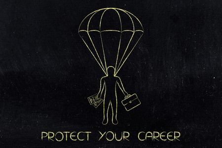 protecting your business: business man on a parachute, concept of protecting your career Stock Photo