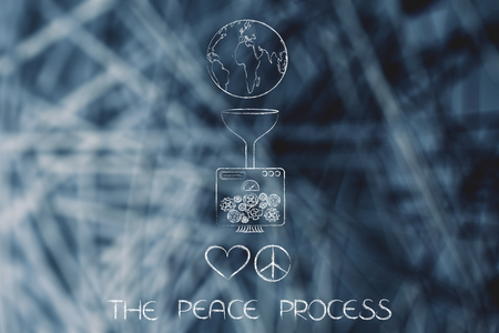 machine connected to planet earth producing peace and love symbols, metaphor of peace process