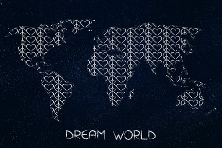 Love And Peace Symbol With World Map Outline On Keyboard Bokeh