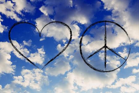 peace and love heart symbol, minimal chalk outline illustration over sky picture