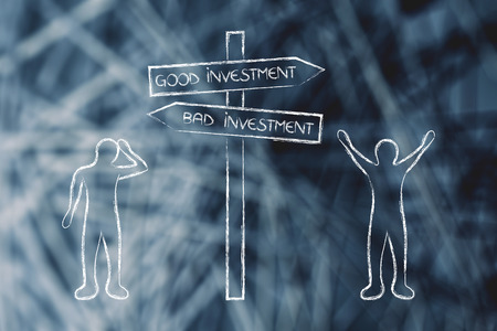 happy man next to Good Investment road sign and sad person next to Bad side, concept of investment risk Banque d'images