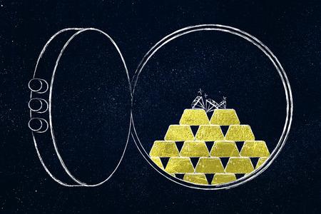 otevřená banská klenba s hromadou zlatých ingotů a několika diamanty nahoře, koncept bezpečných investic Reklamní fotografie