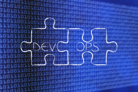 テキスト DevOps、ソフトウェア開発および運用の概念とパズルのピースをマッチング