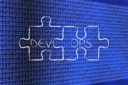 텍스트와 퍼즐의 일치하는 조각 DevOps, 소프트웨어 개발 및 운영의 개념 스톡 콘텐츠