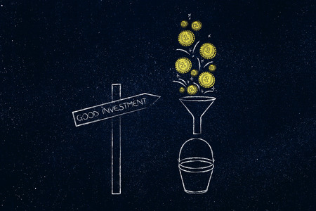 Good Investment road sign and coins dropping into bucket through a funnel, concept of making profits easily Stock Photo