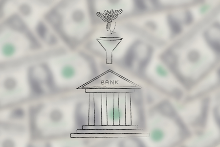 coins dropping into funnel above bank building, concept of adding savings to your bank account Stock Photo