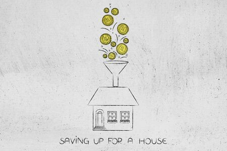 expenditure: golden coins dropping into funnel above a house, concept of saving up for a property Stock Photo