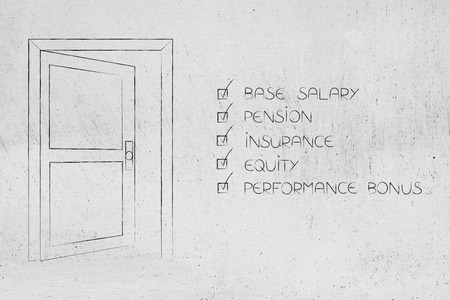 company benefits package: semi-open door next to list of incentives ticked