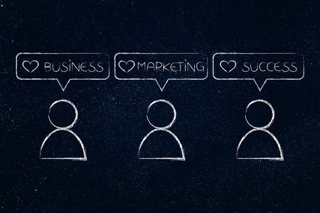 social media for businesses concept: users with Business marketing success icons