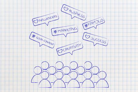 Marketing de medios sociales y conceptos influenciadores en iconos de comentarios con multitud de seguidores Foto de archivo - 80381113