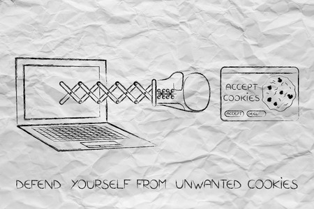 defend yourself from internet threats: laptop with boxing glove coming out of the screen on a spring punching an unwanted cookie Stok Fotoğraf