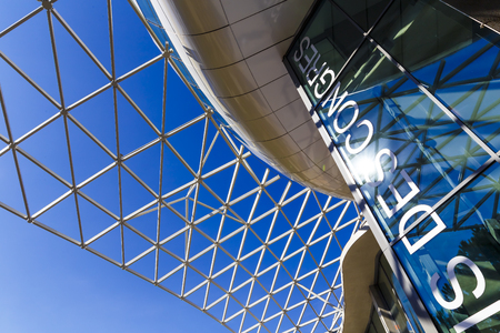 recently: ANTIBES, FRANCE - September 22th, 2016: Detail of the recently built Palais des congres building in Antibes on the French Riviera Editorial