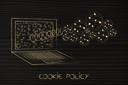 cookie-beleidsconcept: groep cookies die tevoorschijn komen uit een paotop-scherm op een veer