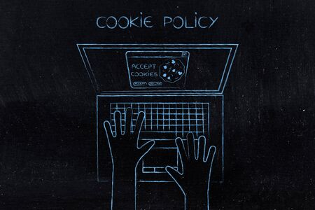 browser cookie policy concept: user at laptop with accept or decline pop-up message on screen