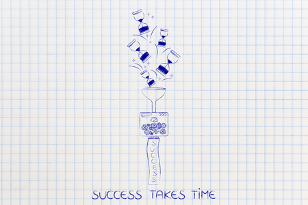 maching: success takes time concept: factory maching turning hourglasses into a banner with caption