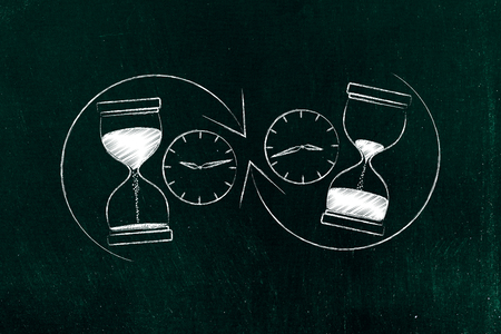 before and after hourglass with sand moved and arrows with clocks, concept of past and future